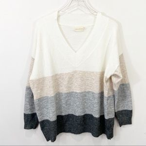 DREAMERS Cozy Striped V Neck Sweater Size XL